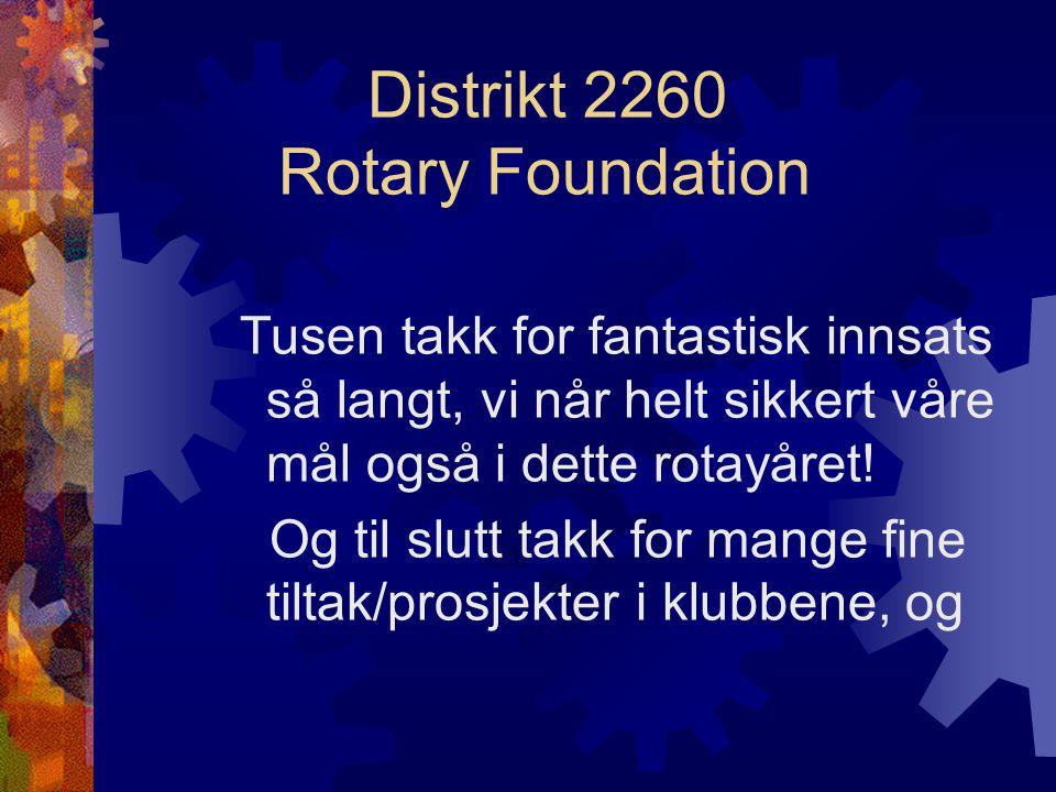 Distrikt 2260 Rotary Foundation Tusen takk for fantastisk innsats så langt, vi når helt sikkert våre mål også i dette rotayåret.