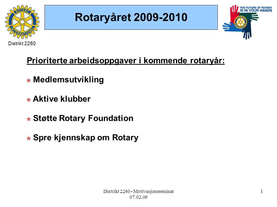 Distrikt 2260 - Motivasjonsseminar 07.02.09 1 Rotaryåret 2009-2010 Prioriterte arbeidsoppgaver i kommende rotaryår: Medlemsutvikling Aktive klubber Støtte Rotary Foundation Spre kjennskap om Rotary Distrikt 2260