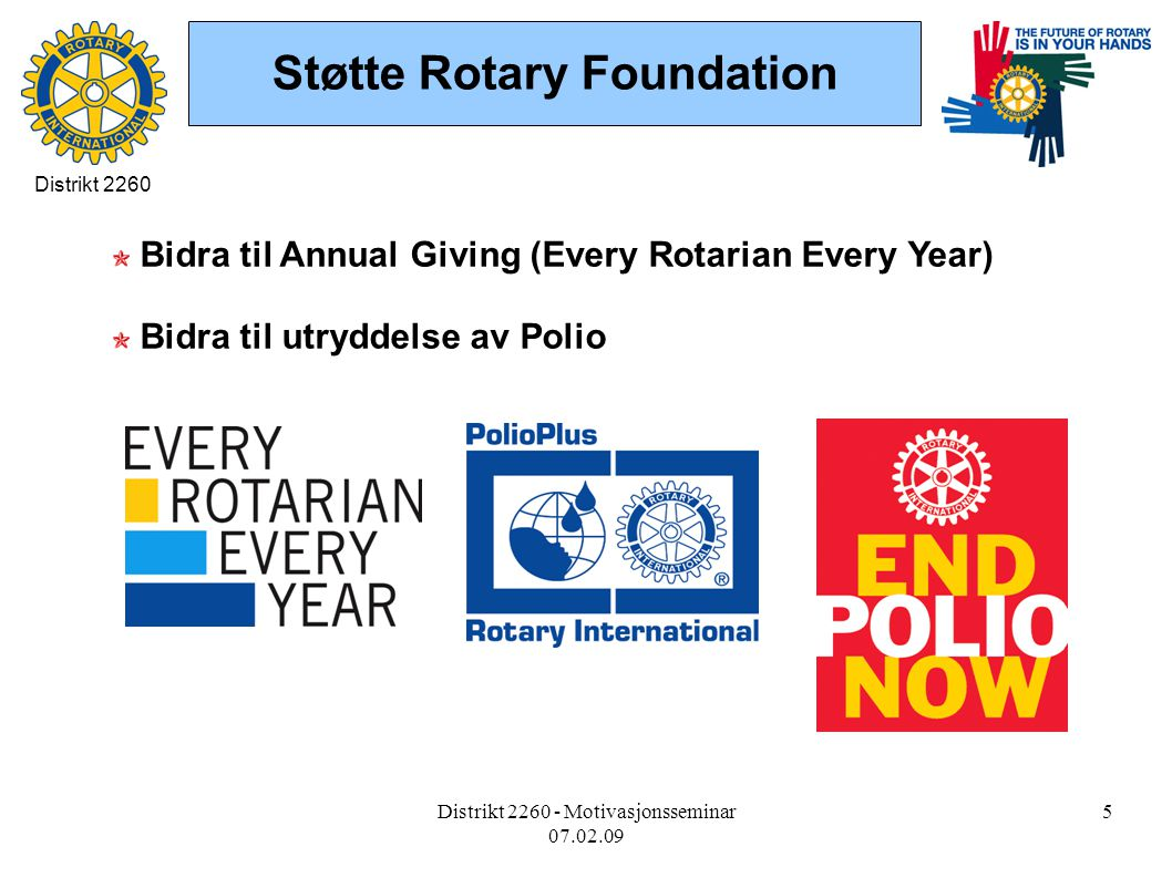 Distrikt 2260 - Motivasjonsseminar 07.02.09 5 Støtte Rotary Foundation Bidra til Annual Giving (Every Rotarian Every Year) Bidra til utryddelse av Polio Distrikt 2260