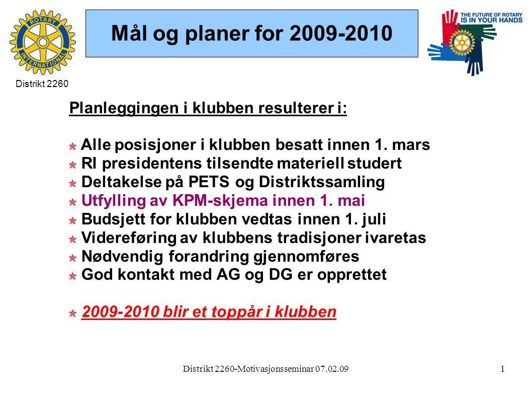 Distrikt 2260-Motivasjonsseminar 07.02.091 Mål og planer for 2009-2010 Planleggingen i klubben resulterer i: Alle posisjoner i klubben besatt innen 1.
