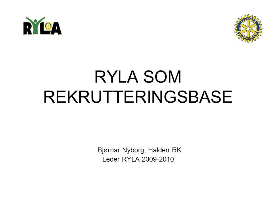 RYLA SOM REKRUTTERINGSBASE Bjørnar Nyborg, Halden RK Leder RYLA 2009-2010
