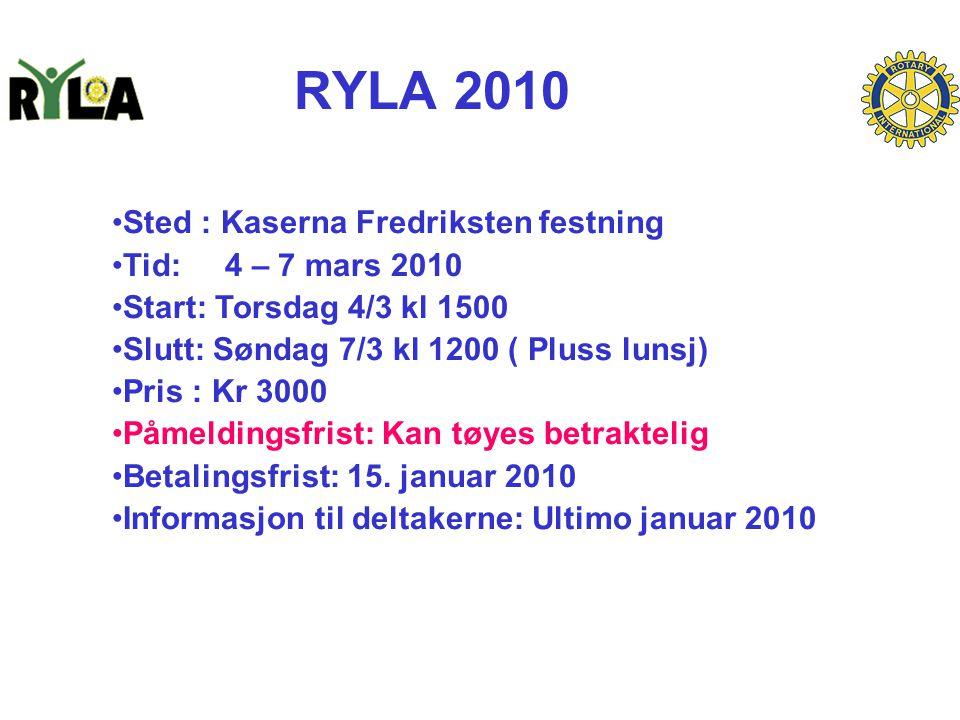 RYLA 2010 Sted : Kaserna Fredriksten festning Tid: 4 – 7 mars 2010 Start: Torsdag 4/3 kl 1500 Slutt: Søndag 7/3 kl 1200 ( Pluss lunsj) Pris : Kr 3000