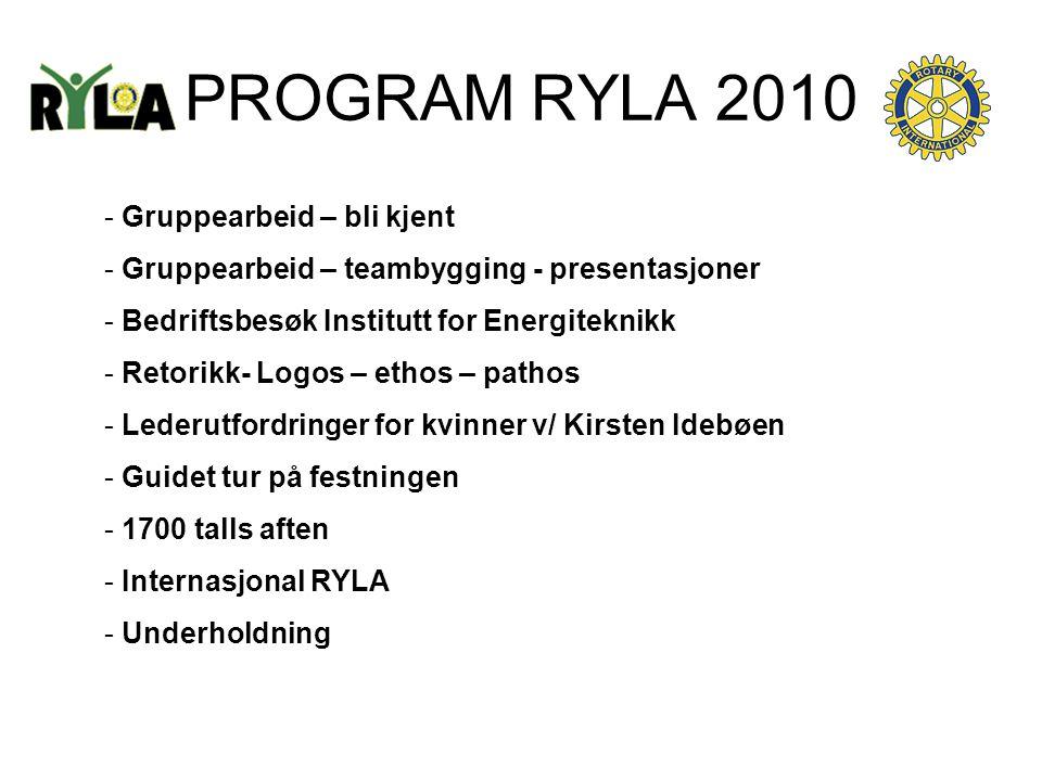 PROGRAM RYLA 2010 - Gruppearbeid – bli kjent - Gruppearbeid – teambygging - presentasjoner - Bedriftsbesøk Institutt for Energiteknikk - Retorikk- Log