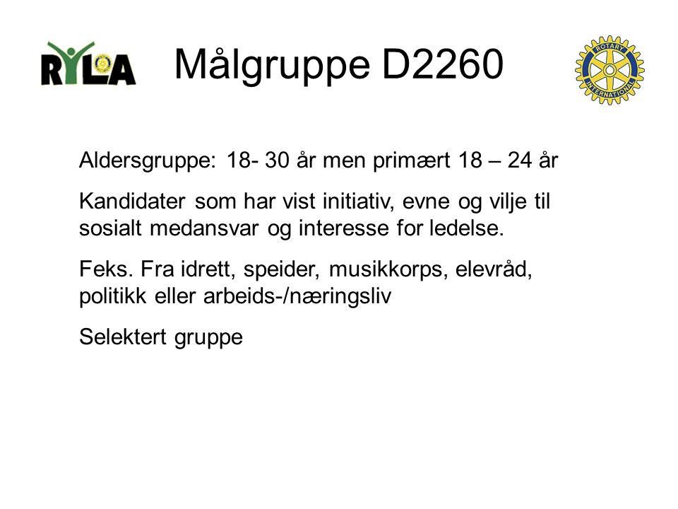 Målgruppe D2260 Aldersgruppe: 18- 30 år men primært 18 – 24 år Kandidater som har vist initiativ, evne og vilje til sosialt medansvar og interesse for