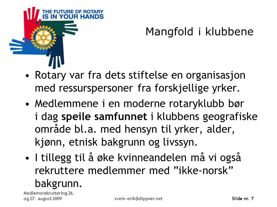 Mangfold i klubbene Rotary var fra dets stiftelse en organisasjon med ressurspersoner fra forskjellige yrker.