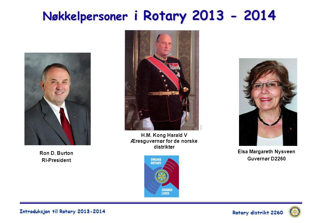 Rotary distrikt 2260 Introduksjon til Rotary 2013-2014 Nøkkelpersoner i Rotary 2013 - 2014 Ron D. Burton RI-President Elsa Margareth Nysveen Guvernør