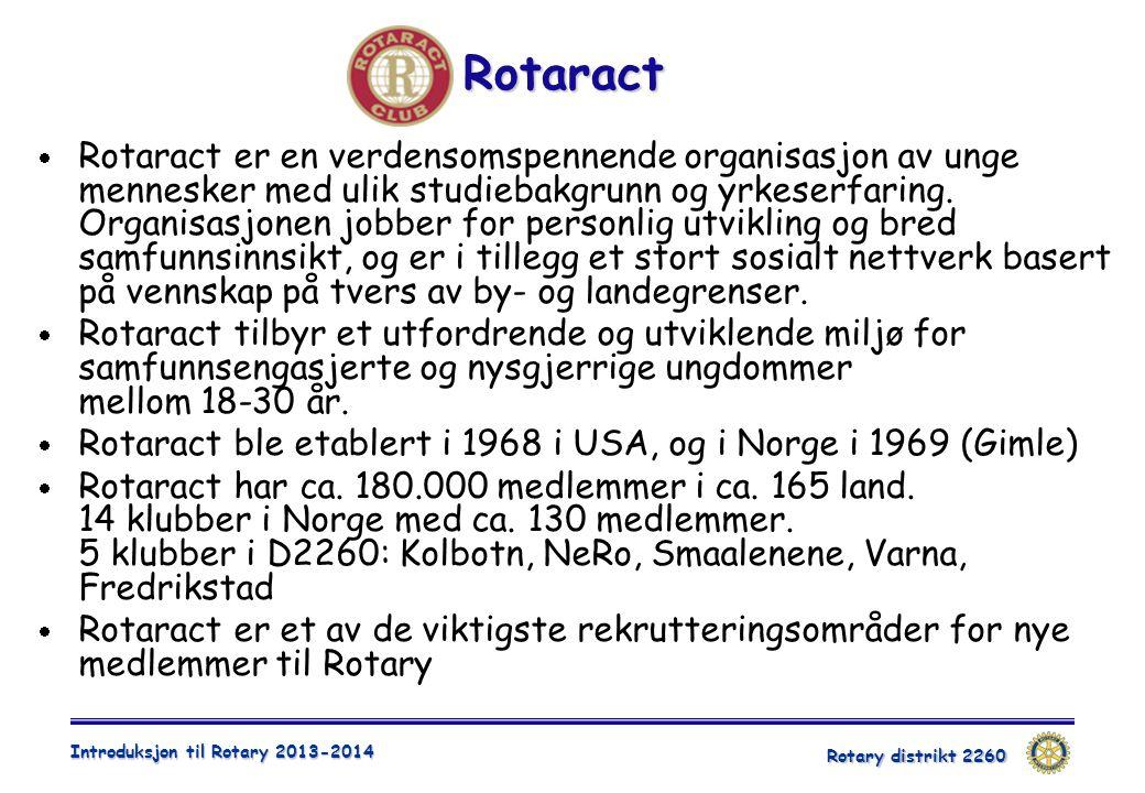 Rotary distrikt 2260 Introduksjon til Rotary 2013-2014 Rotaract  Rotaract er en verdensomspennende organisasjon av unge mennesker med ulik studiebakg