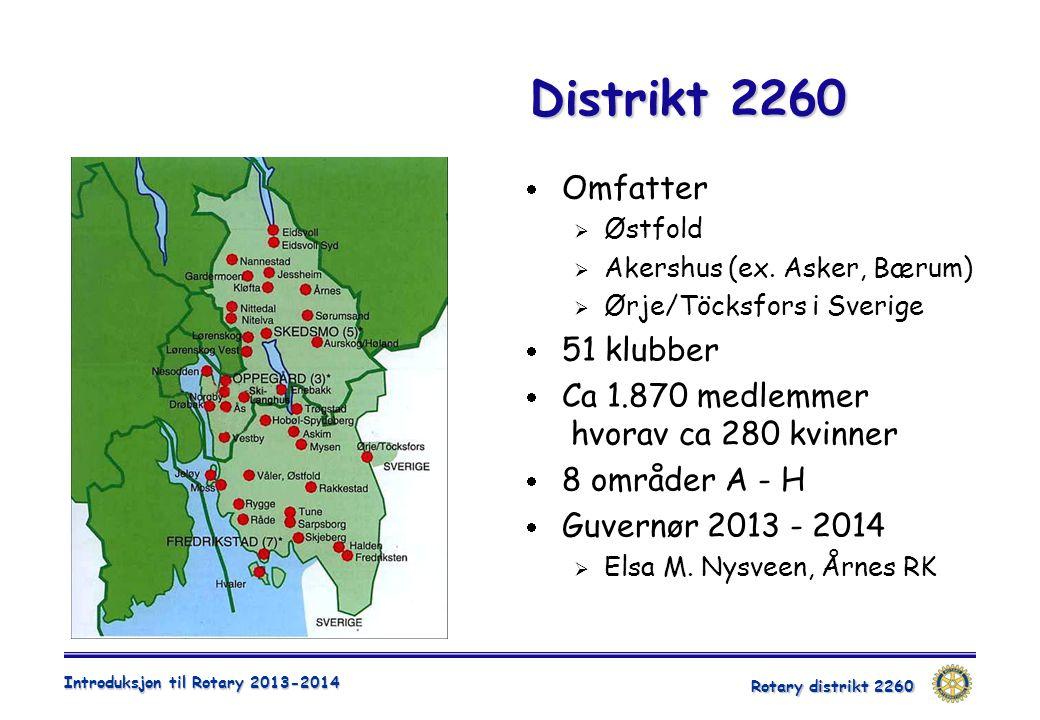 Rotary distrikt 2260 Introduksjon til Rotary 2013-2014 Distrikt 2260  Omfatter  Østfold  Akershus (ex. Asker, Bærum)  Ørje/Töcksfors i Sverige  5