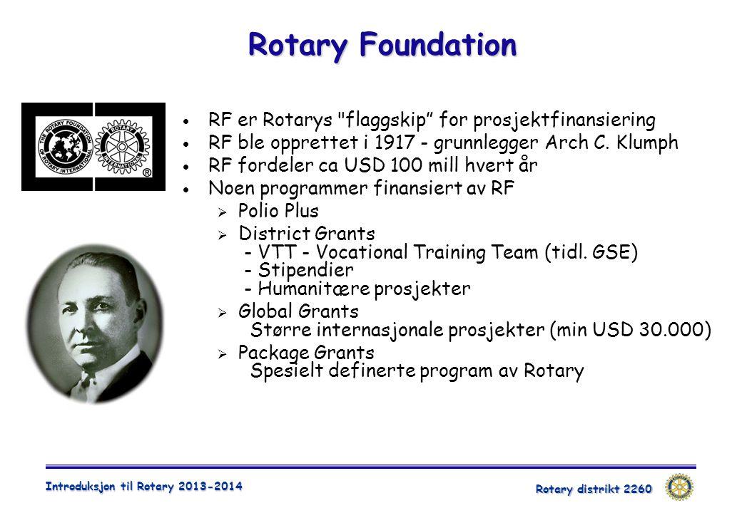 Rotary distrikt 2260 Introduksjon til Rotary 2013-2014 Rotary Foundation  RF er Rotarys