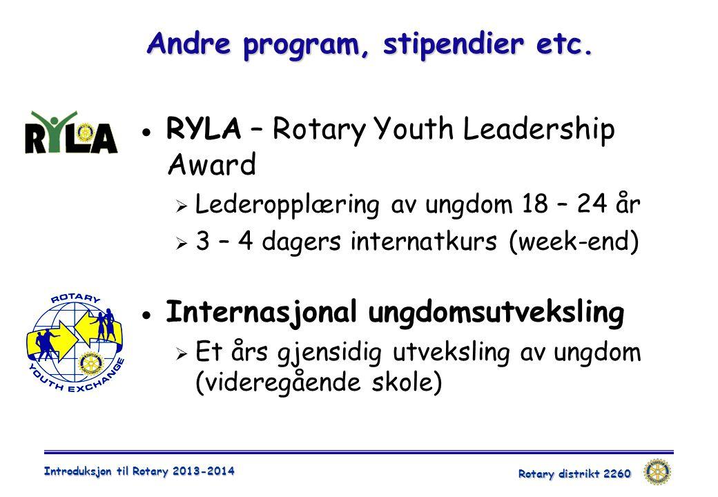 Rotary distrikt 2260 Introduksjon til Rotary 2013-2014 Andre program, stipendier etc.  RYLA – Rotary Youth Leadership Award  Lederopplæring av ungdo