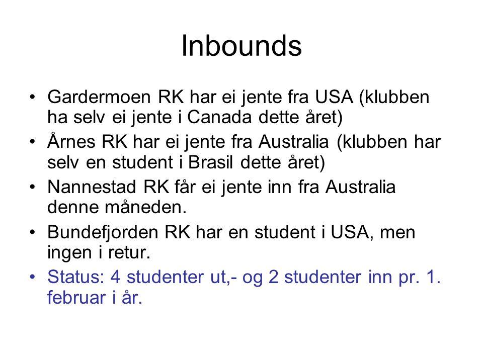Inbounds Gardermoen RK har ei jente fra USA (klubben ha selv ei jente i Canada dette året) Årnes RK har ei jente fra Australia (klubben har selv en st