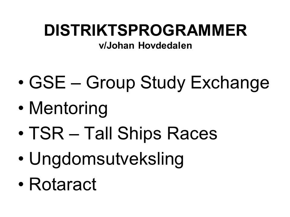 DISTRIKTSPROGRAMMER v/Johan Hovdedalen GSE – Group Study Exchange Mentoring TSR – Tall Ships Races Ungdomsutveksling Rotaract