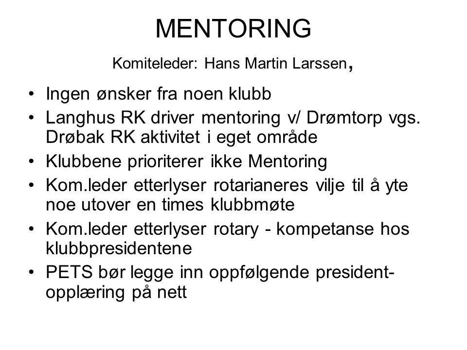 MENTORING Komiteleder: Hans Martin Larssen, Ingen ønsker fra noen klubb Langhus RK driver mentoring v/ Drømtorp vgs.