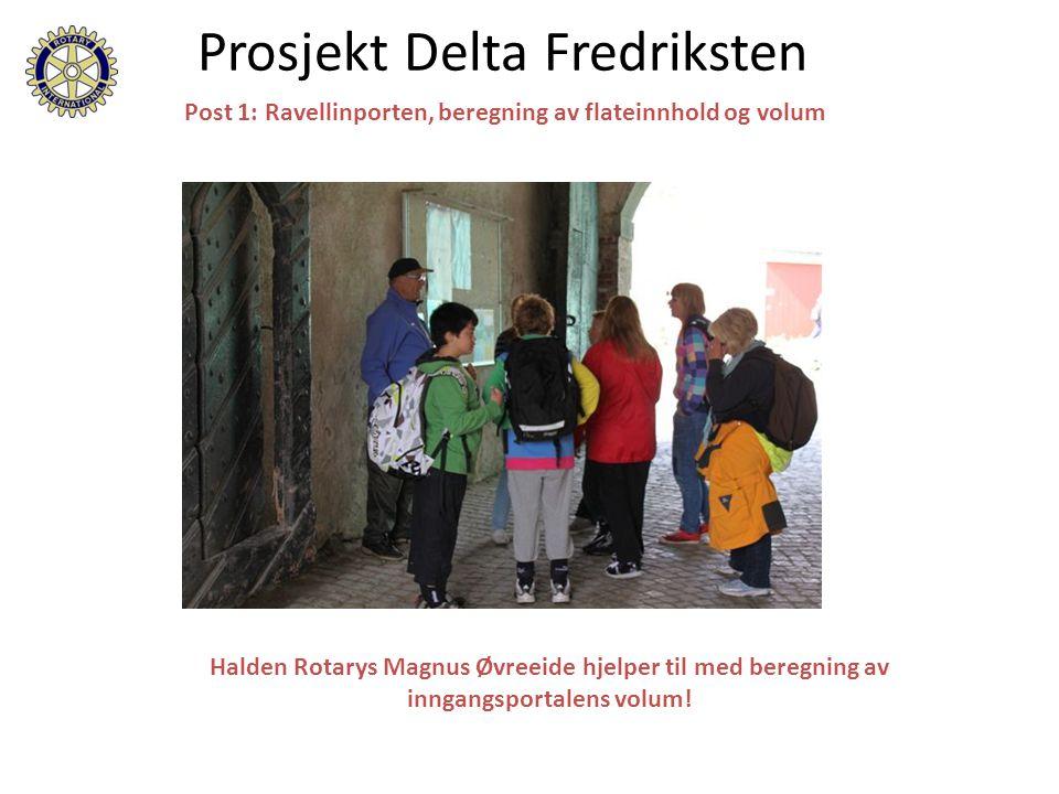 Halden Rotarys Magnus Øvreeide hjelper til med beregning av inngangsportalens volum.