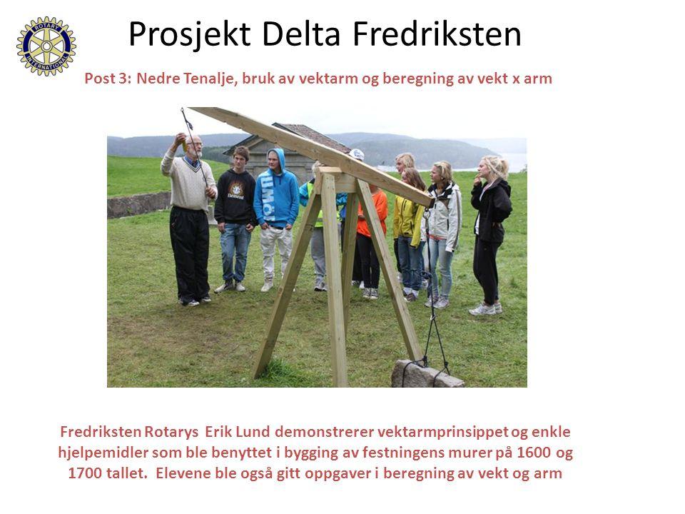 Prosjekt Delta Fredriksten Fredriksten Rotarys Erik Lund demonstrerer vektarmprinsippet og enkle hjelpemidler som ble benyttet i bygging av festningen