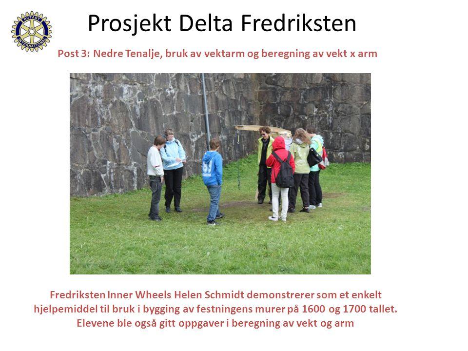 Prosjekt Delta Fredriksten Post 3: Nedre Tenalje, bruk av vektarm og beregning av vekt x arm Fredriksten Inner Wheels Helen Schmidt demonstrerer som et enkelt hjelpemiddel til bruk i bygging av festningens murer på 1600 og 1700 tallet.