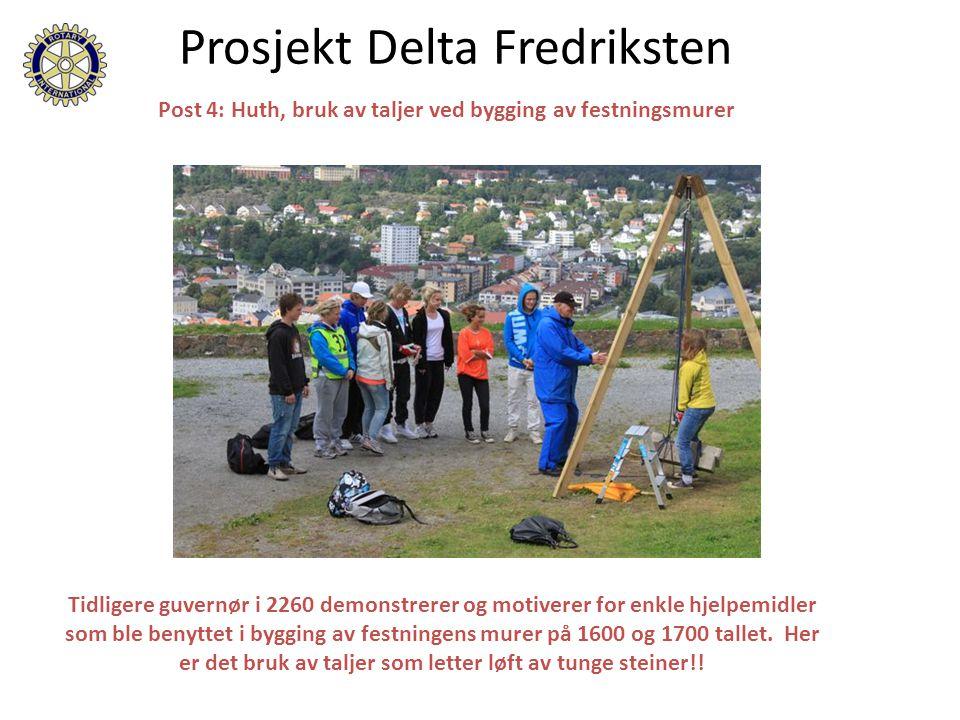 Prosjekt Delta Fredriksten Post 4: Huth, bruk av taljer ved bygging av festningsmurer Tidligere guvernør i 2260 demonstrerer og motiverer for enkle hjelpemidler som ble benyttet i bygging av festningens murer på 1600 og 1700 tallet.