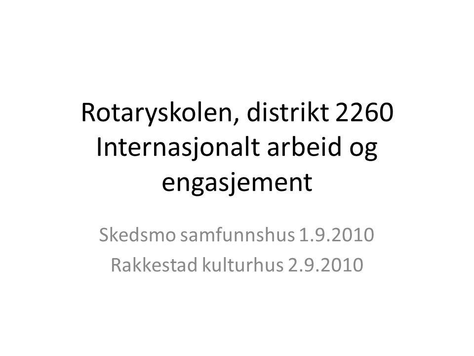 Rotaryskolen, distrikt 2260 Internasjonalt arbeid og engasjement Skedsmo samfunnshus 1.9.2010 Rakkestad kulturhus 2.9.2010