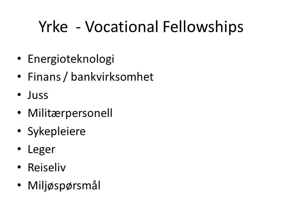Yrke - Vocational Fellowships Energioteknologi Finans / bankvirksomhet Juss Militærpersonell Sykepleiere Leger Reiseliv Miljøspørsmål