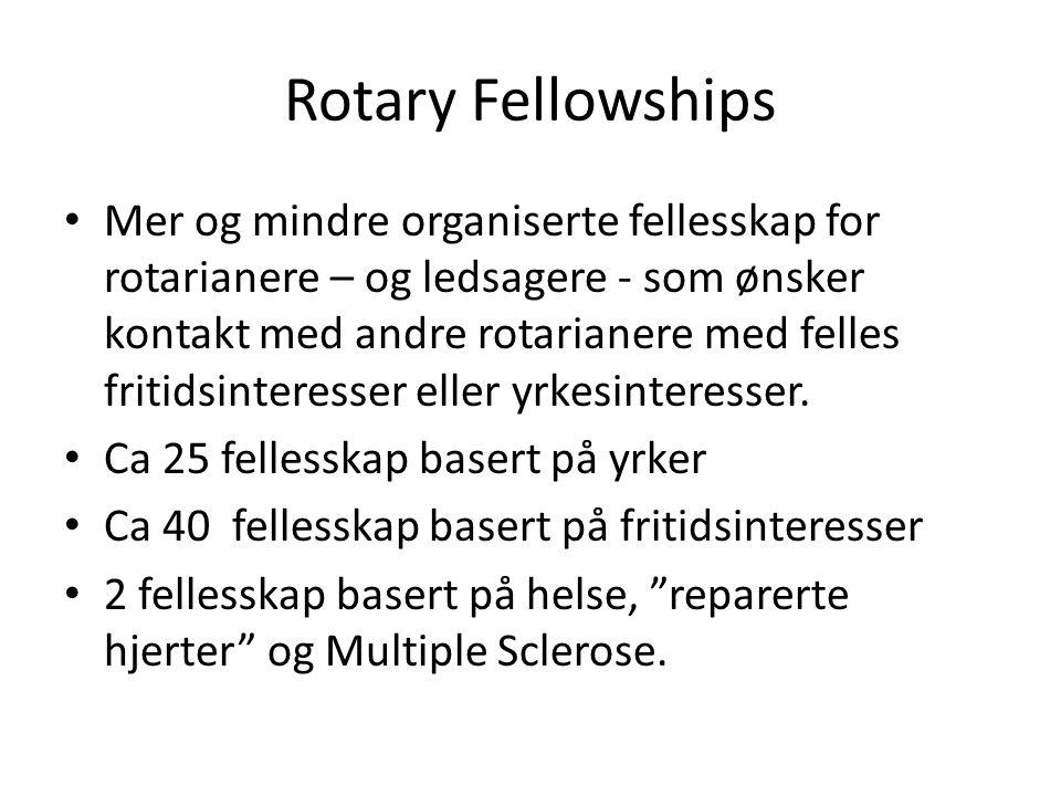 Rotary Fellowships Mer og mindre organiserte fellesskap for rotarianere – og ledsagere - som ønsker kontakt med andre rotarianere med felles fritidsinteresser eller yrkesinteresser.