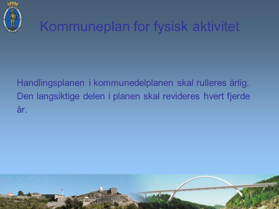 Kommuneplan for fysisk aktivitet Handlingsplanen i kommunedelplanen skal rulleres årlig.