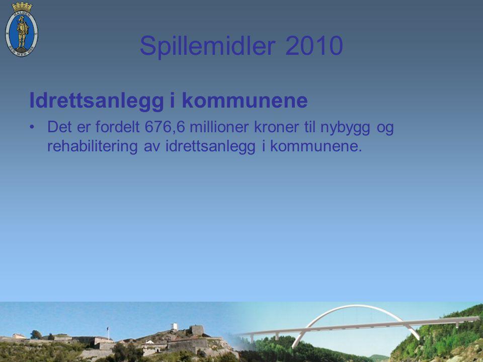 Spillemidler 2010 Idrettsanlegg i kommunene Det er fordelt 676,6 millioner kroner til nybygg og rehabilitering av idrettsanlegg i kommunene.
