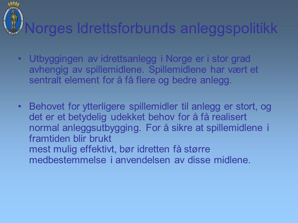 Norges Idrettsforbunds anleggspolitikk Utbyggingen av idrettsanlegg i Norge er i stor grad avhengig av spillemidlene.