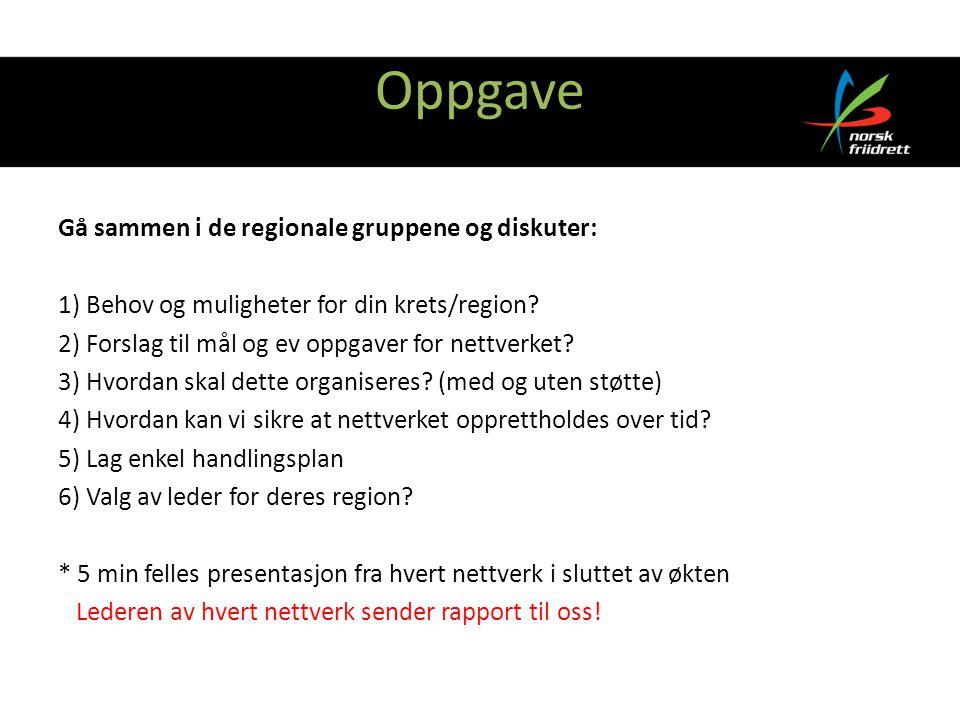 Oppgave Gå sammen i de regionale gruppene og diskuter: 1) Behov og muligheter for din krets/region.