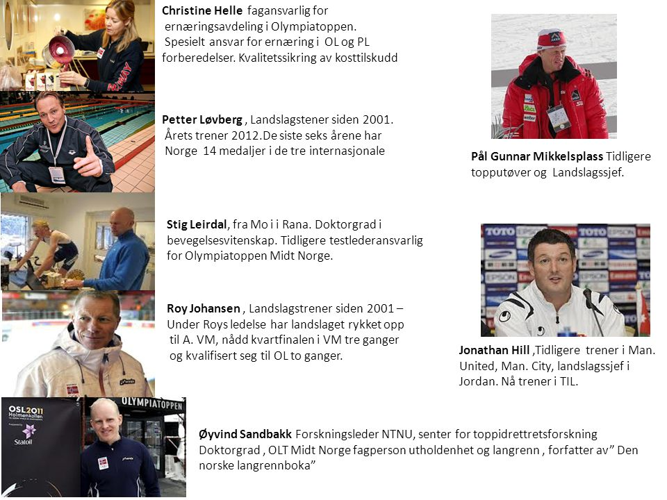 Side 2 Petter Løvberg, Landslagstener siden 2001. Årets trener 2012.De siste seks årene har Norge 14 medaljer i de tre internasjonale Christine Helle