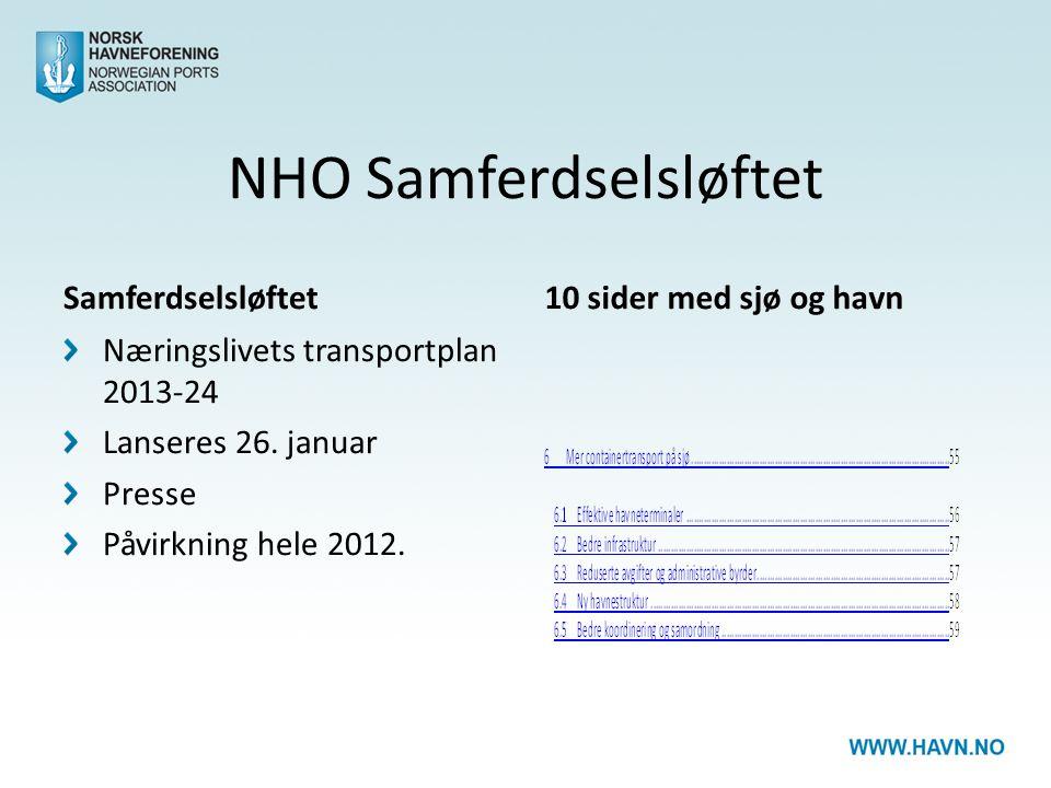 NHO Samferdselsløftet Samferdselsløftet Næringslivets transportplan 2013-24 Lanseres 26. januar Presse Påvirkning hele 2012. 10 sider med sjø og havn