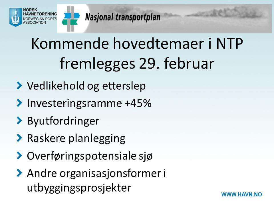 Kommende hovedtemaer i NTP fremlegges 29. februar Vedlikehold og etterslep Investeringsramme +45% Byutfordringer Raskere planlegging Overføringspotens
