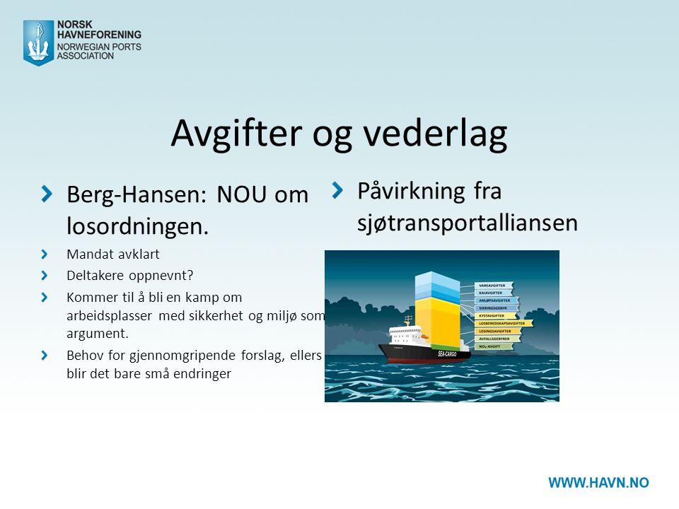 Avgifter og vederlag Berg-Hansen: NOU om losordningen.
