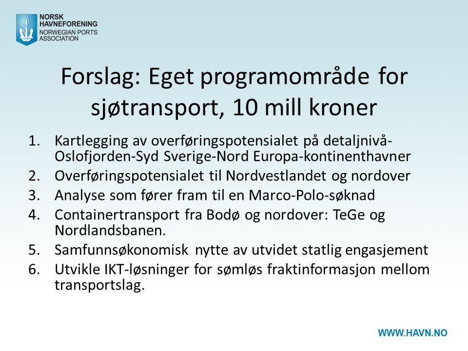 Forslag: Eget programområde for sjøtransport, 10 mill kroner 1.Kartlegging av overføringspotensialet på detaljnivå- Oslofjorden-Syd Sverige-Nord Europa-kontinenthavner 2.Overføringspotensialet til Nordvestlandet og nordover 3.Analyse som fører fram til en Marco-Polo-søknad 4.Containertransport fra Bodø og nordover: TeGe og Nordlandsbanen.