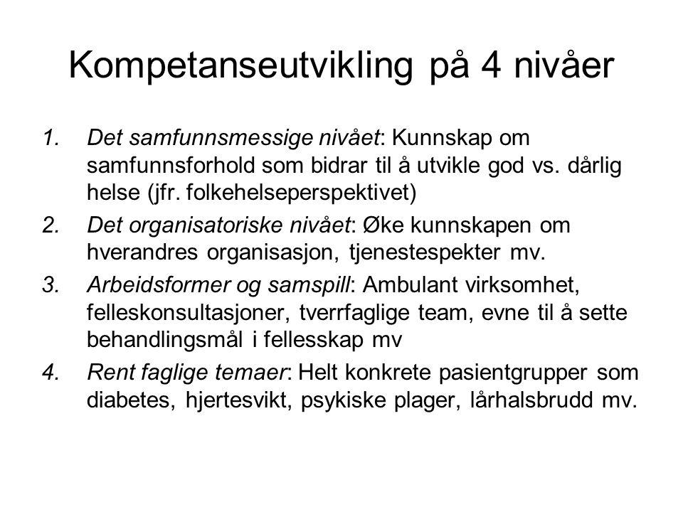 Kompetanseutvikling på 4 nivåer 1.Det samfunnsmessige nivået: Kunnskap om samfunnsforhold som bidrar til å utvikle god vs.
