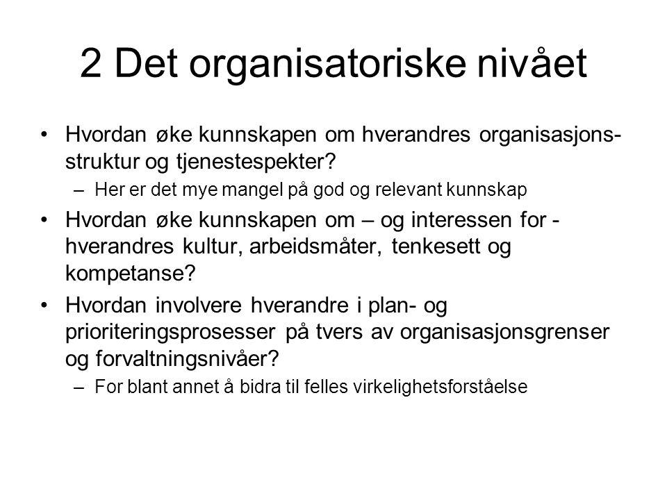2 Det organisatoriske nivået Hvordan øke kunnskapen om hverandres organisasjons- struktur og tjenestespekter.
