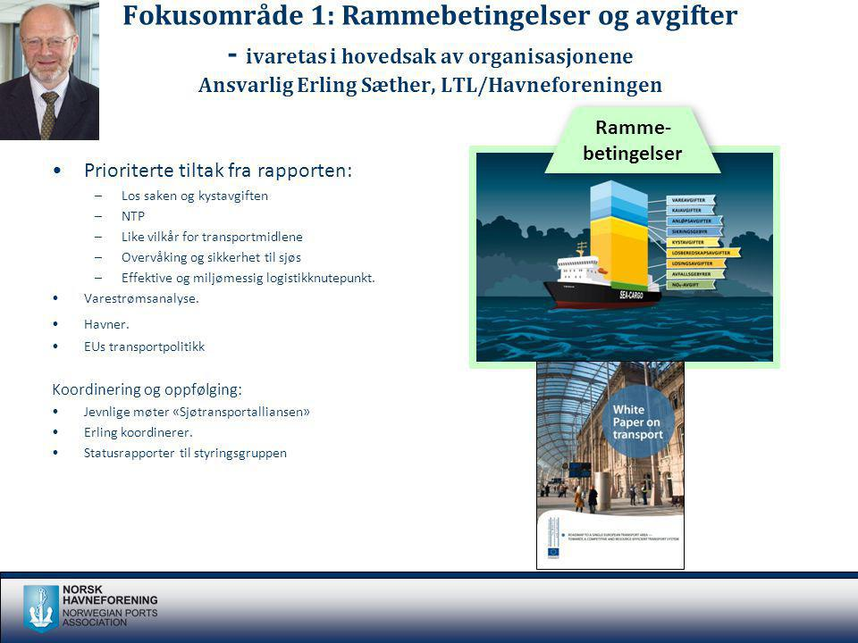Fokusområde 1: Rammebetingelser og avgifter - ivaretas i hovedsak av organisasjonene Ansvarlig Erling Sæther, LTL/Havneforeningen Prioriterte tiltak f