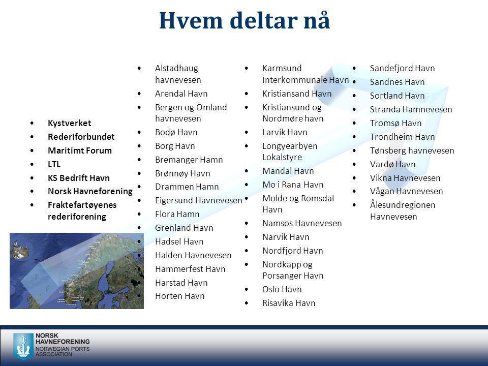 Kystverket Rederiforbundet Maritimt Forum LTL KS Bedrift Havn Norsk Havneforening Fraktefartøyenes rederiforening Alstadhaug havnevesen Arendal Havn B