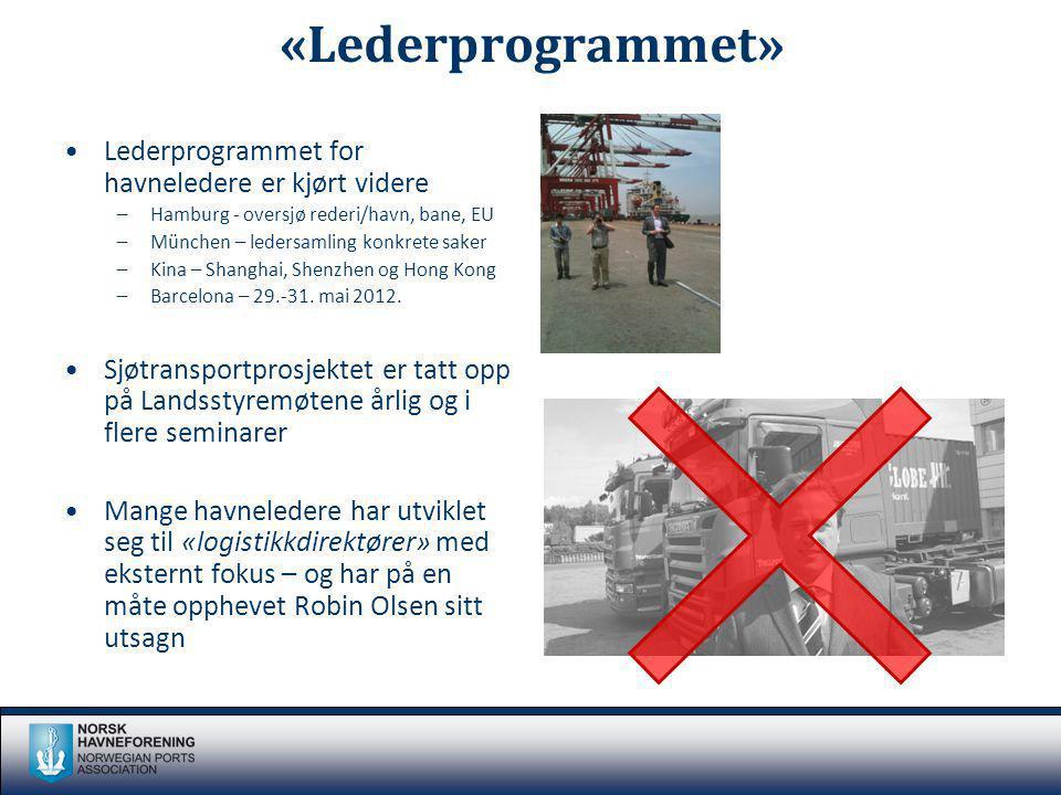 «Lederprogrammet» Lederprogrammet for havneledere er kjørt videre –Hamburg - oversjø rederi/havn, bane, EU –München – ledersamling konkrete saker –Kin