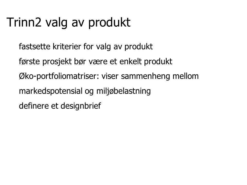 Trinn2 valg av produkt fastsette kriterier for valg av produkt første prosjekt bør være et enkelt produkt Øko-portfoliomatriser: viser sammenheng mell