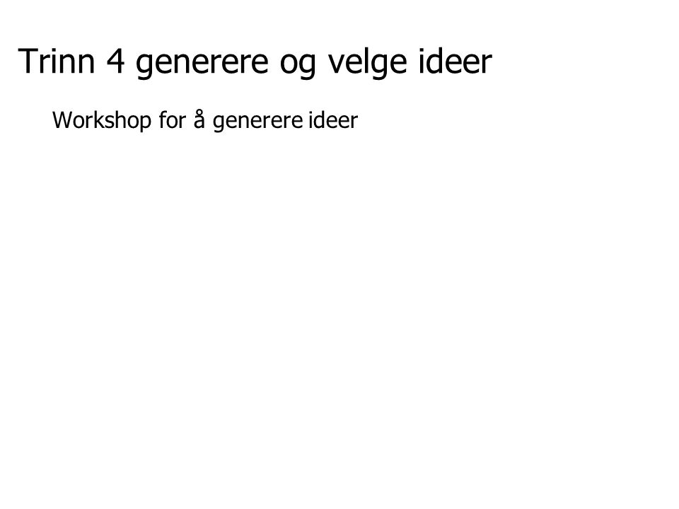 Trinn 4 generere og velge ideer Workshop for å generere ideer
