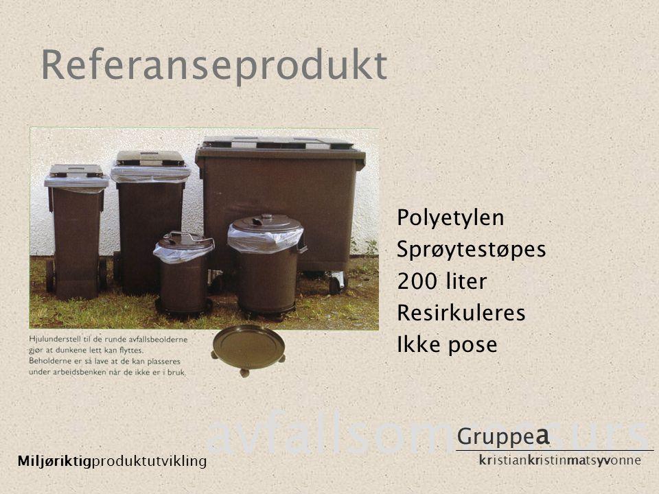 Referanseprodukt avfallsomressurs Miljøriktigproduktutvikling Gruppe a kristiankristinmatsyvonne Polyetylen Sprøytestøpes 200 liter Resirkuleres Ikke