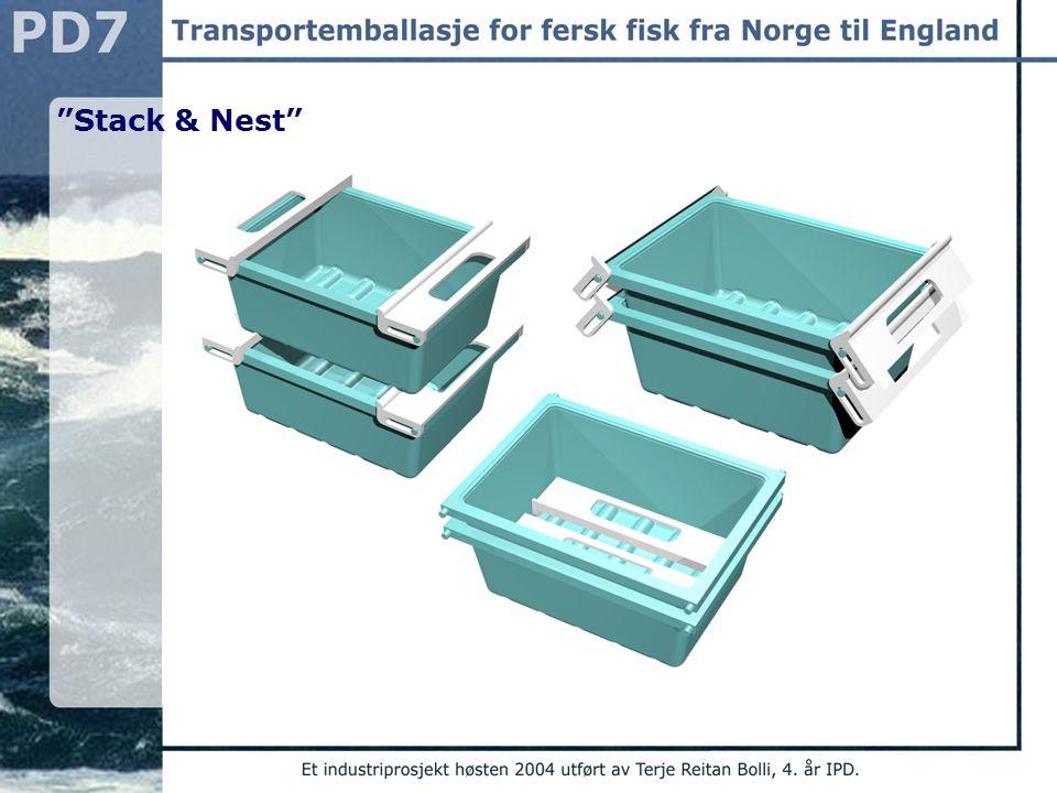 Pallutnyttelse 56 emballasjer per pall Arealutnyttelse på pall i overkant av 90% Løsning for 10 kg fisk Selve karet som fiskefilétene skal ligge i har yttermål: Lengde: 390 mm Bredde: 290 mm Høyde: 140 mm