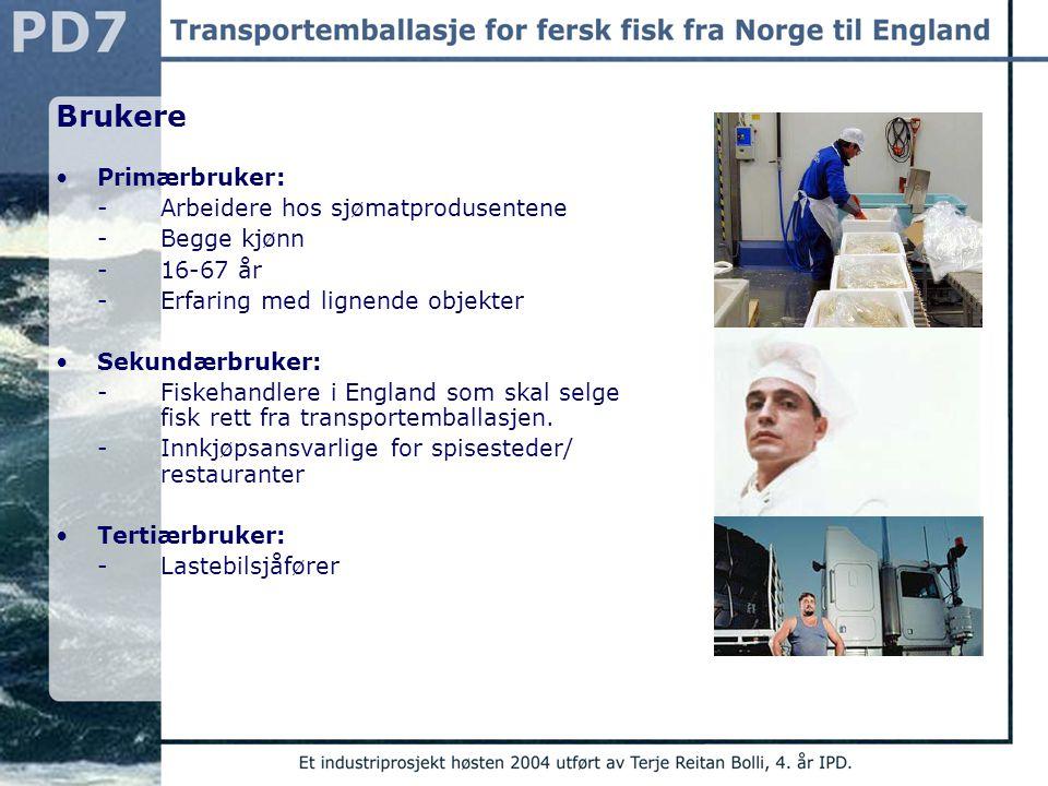 Brukere Primærbruker: - Arbeidere hos sjømatprodusentene -Begge kjønn -16-67 år -Erfaring med lignende objekter Sekundærbruker: -Fiskehandlere i Engla