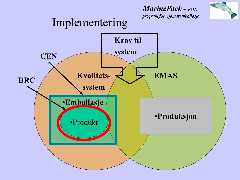 MarinePack - FOU- program for sjømatemballasje Implementering Kvalitets- system EMAS Emballasje Produkt Produksjon BRC CEN Krav til system
