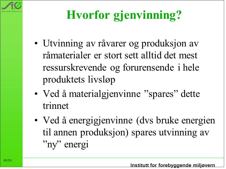 Institutt for forebyggende miljøvern  STØ Hvorfor gjenvinning.