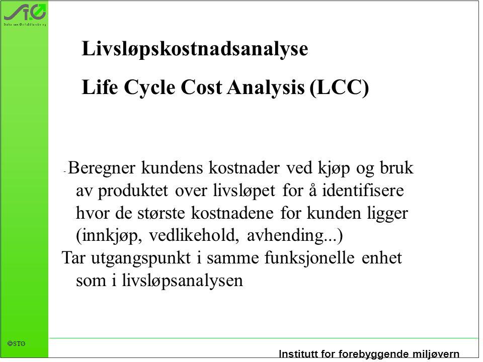 Institutt for forebyggende miljøvern  STØ - Beregner kundens kostnader ved kjøp og bruk av produktet over livsløpet for å identifisere hvor de størst