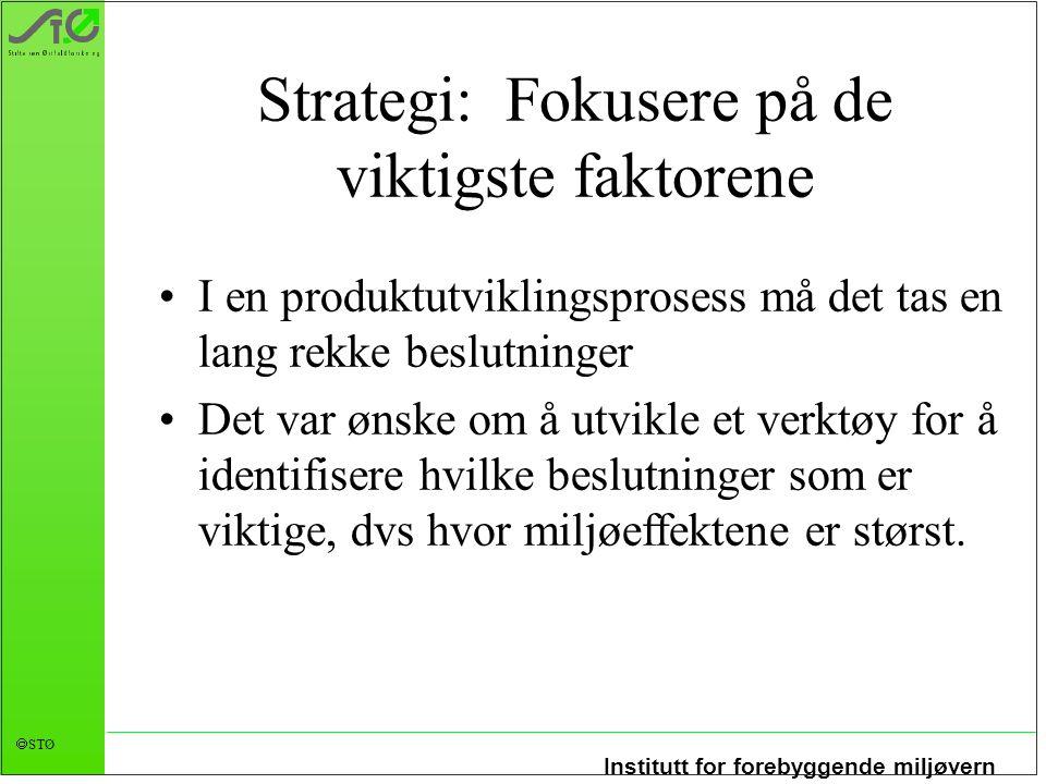 Institutt for forebyggende miljøvern  STØ Strategi: Fokusere på de viktigste faktorene I en produktutviklingsprosess må det tas en lang rekke beslutn