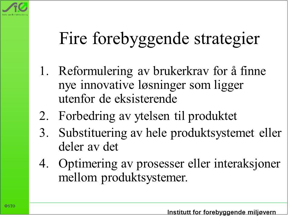 Institutt for forebyggende miljøvern  STØ Fire forebyggende strategier 1.Reformulering av brukerkrav for å finne nye innovative løsninger som ligger
