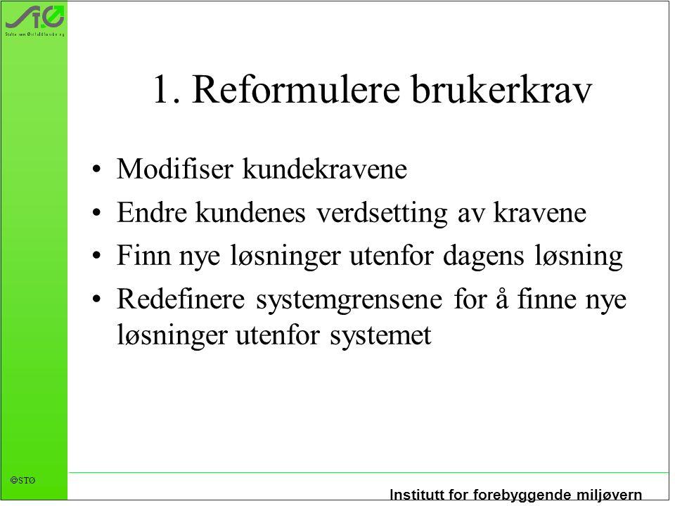 Institutt for forebyggende miljøvern  STØ 1. Reformulere brukerkrav Modifiser kundekravene Endre kundenes verdsetting av kravene Finn nye løsninger u