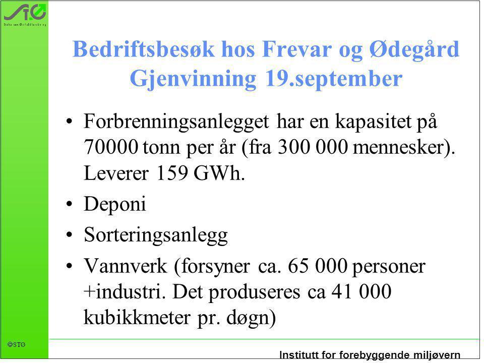 Institutt for forebyggende miljøvern  STØ Forbrenningsanlegget har en kapasitet på 70000 tonn per år (fra 300 000 mennesker).